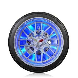 Criativo pneu de carro luzes led relógio de parede 10-inch redondo ornamentos de plástico casa quartzo relógio de parede barra tema pendurado relógio