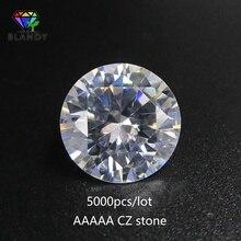 Fabryka cena 5000 sztuk/partia 5A CZ kamień 0.8 ~ 5.0mm okrągły biała cyrkonia sześcienna hurtownie syntetyczny cyrkon Gems...