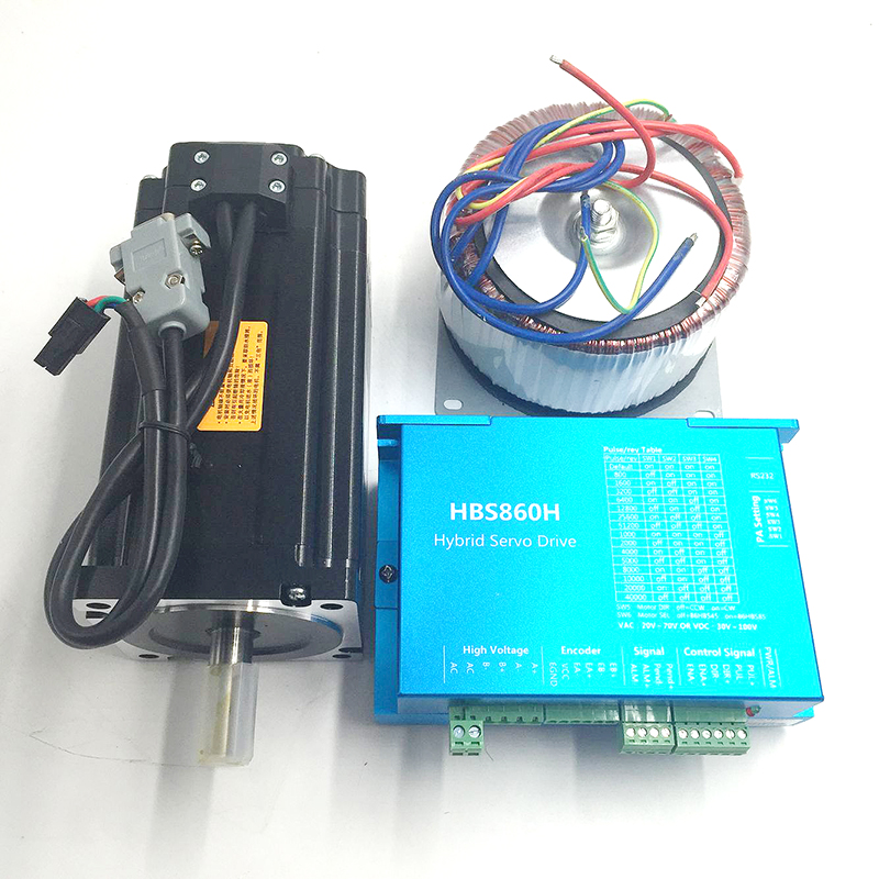 2Ph 8.5Nm NEMA34 AC60V CNC Closed Loop Stepper Drive&Motor&Power Supply for X-Y tables HBS860H+86HBS85 with Power Supply toothed belt drive motorized stepper motor precision guide rail manufacturer guideway