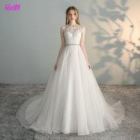 Vestido De Noiva 2017 See Though Back Tulle Bridal Dresses Cap Sleeve Vintage A Line Appliques