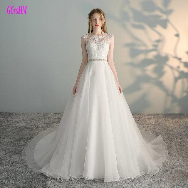 99a7b0488cac Glamorous białe suknie ślubne 2019 Sexy Ivory suknie ślubne długi O-Neck  Organza suknia balowa