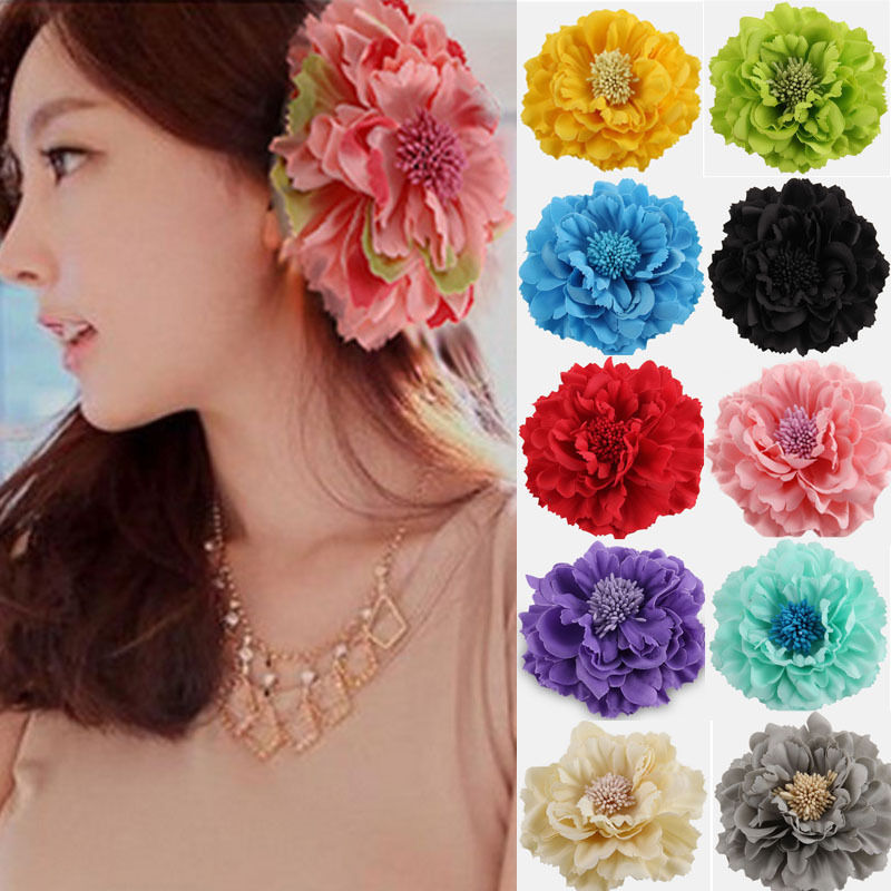 5Pcs/set 1 Color High Grade Fabric Flower Hairpin Hair Clip Peony Big Flower Brooch   Headwear   Women Hair Accessories