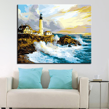 Wall Oil Framework Sea Artwork Pictures DIY Painting By Numbers Lighthouse Art Acrylic Handpainted Home Decor For Living Room