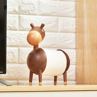 Wooden paper towel holder solid wood toilet paper roll holder cartoon small donkey wooden crafts ornaments
