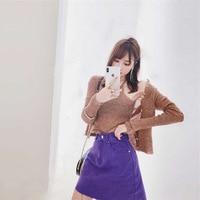 New sleeveless coat condole belt knit long sleeve cardigan blue denim skirt suits female G0311