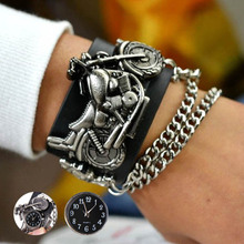 1pc Punk Style Unisex Motorcycle Case men women watches wrist clocks gift Leather Bracelet Round Cool