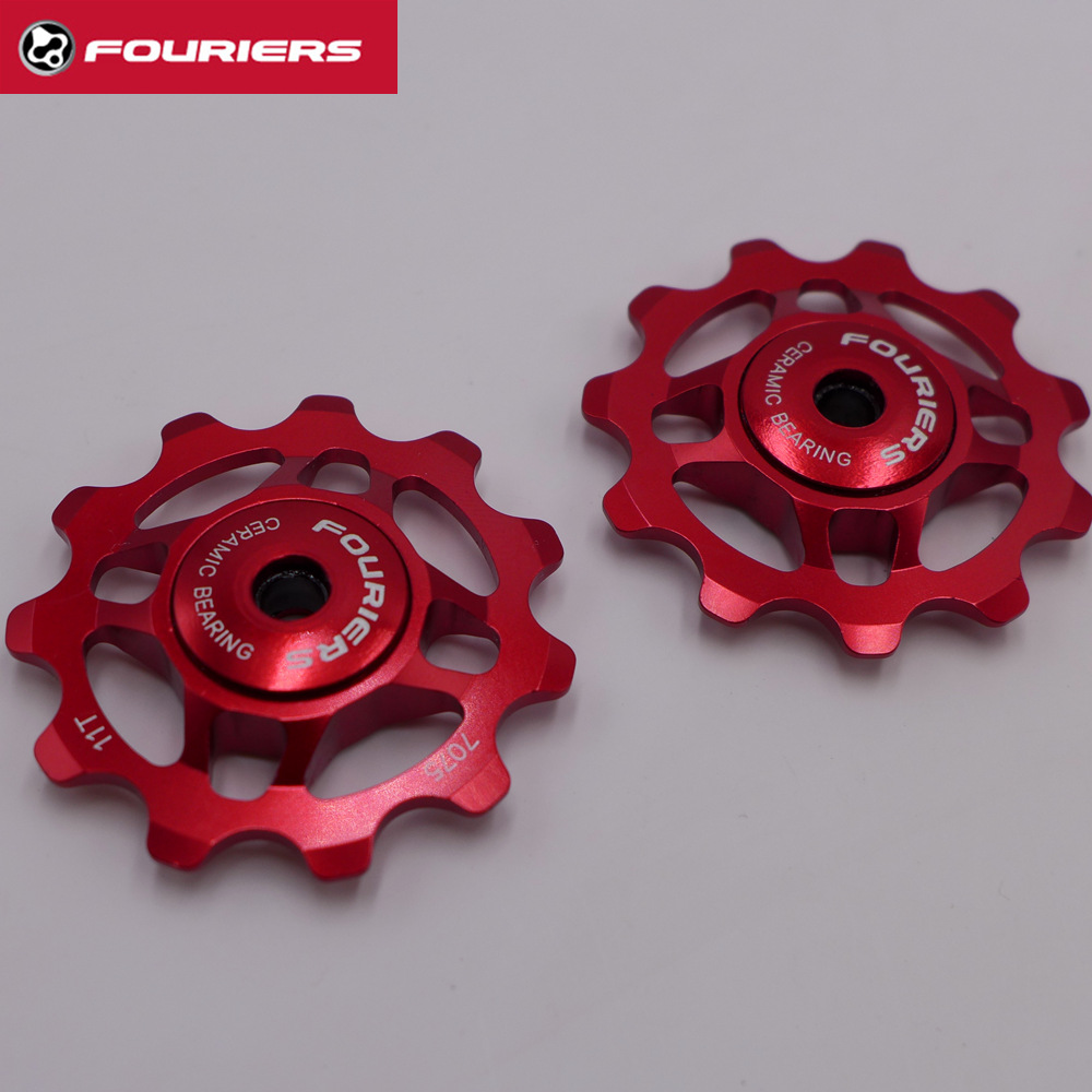 FOURIERS AC-DX001 Pulley Wheels For Shimano 8 9 10 11-Speed Ceramic Bearing 11T aest aluminum bike 7075 11t rear derailleur pulley for shimano sram 7 8 9 speed red