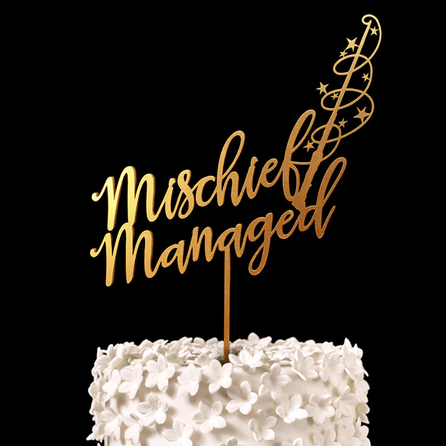 Mischief Managed Harry Potter Cake Topper Wood Rustic Gold Wedding