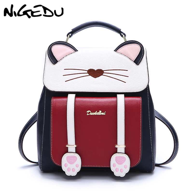 Fashion Embroidery Girl Backpacks Cartoon cat student School Bags PU Leather Women Backpack Female Shoulder Bag mochila blacl daily backpack girl school bag genuine leather women backpacks shoulder bags fashion cowhide student schoolbag mujeres mochila
