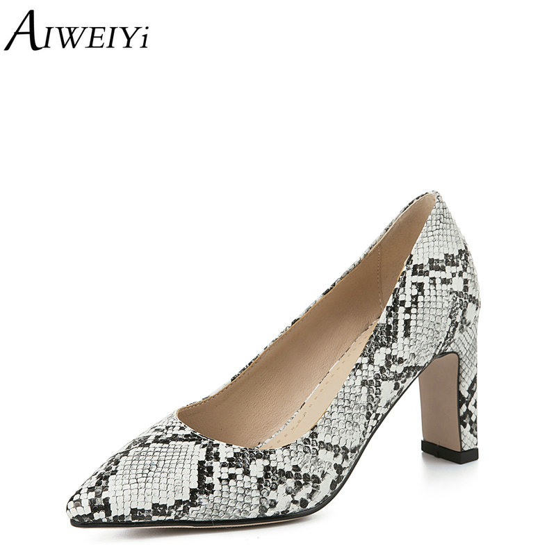 a51c72ba23 AIWEIYi Women Pumps Snake Print PU Leather Square High Heel Shoes Woman  Pointed Toe Slip On