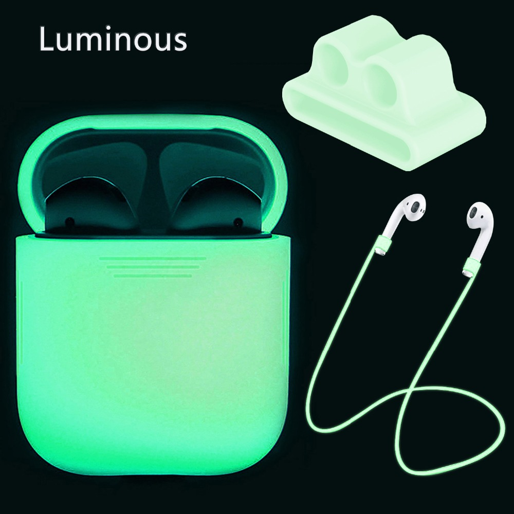 Luminous in dark protector for Apple Airpods case <font><b>air</b></font> <font><b>pods</b></font> <font><b>i9</b></font> i9s i10 Pro i11 i13 i19 <font><b>TWS</b></font> protection cover Anti-lost rope image