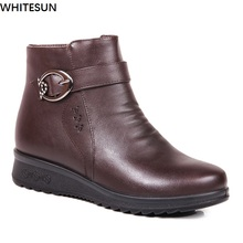 WHITESUN 2017 winter boots women split leather antiskid rubber bottom snow shoes women wedge ankle boots plus size snow boots