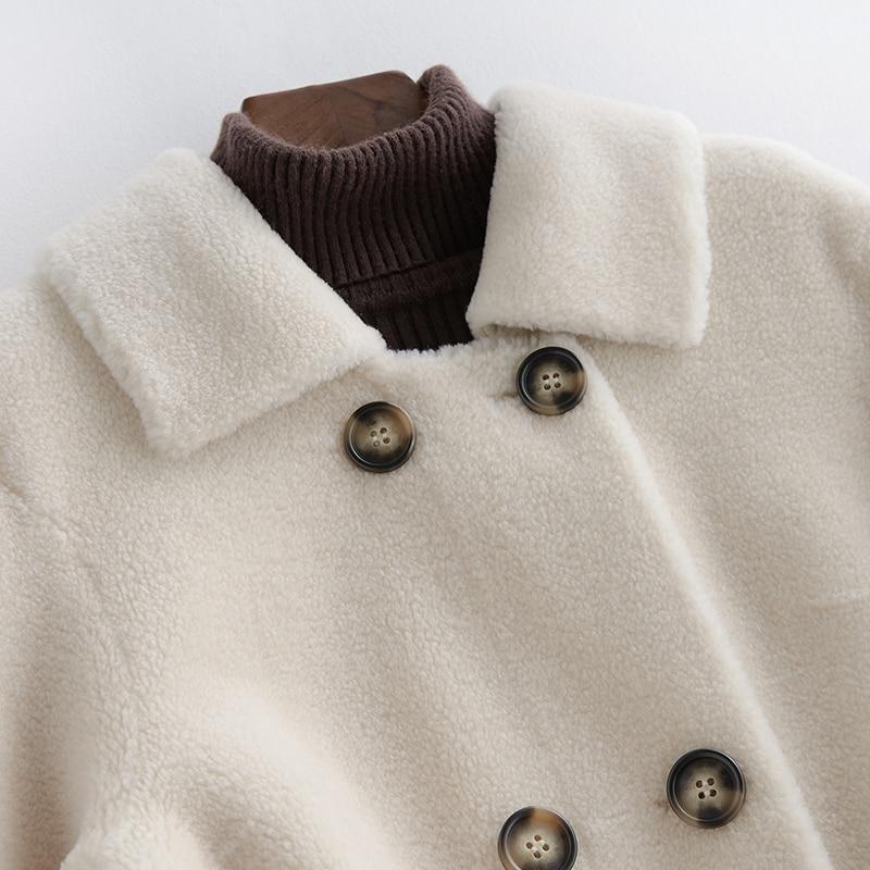 À Manteau Natural light Long White Qualité Wool orange Npi Épais D'hiver Tonte Bonne Couche Tissu Chaud Veste Moutons Conçu Khaki Des De Composite 80827f Femmes Fourrure qnBaBZREgw