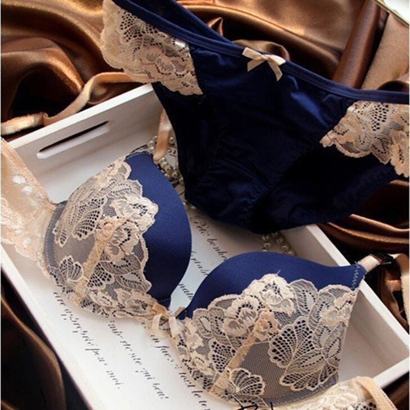 Cotton Blend Lace Sexy BC Embroidery Women   Bra     Set   Lace   Bra     Brief     Sets   Push Up 70 75 80 Panty Underwear   Set