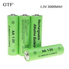 4pcs 1.5V 3000mah AA Battery alkaline Rechargeable for Flashlight rechargeable Portable LED powerbank cr123a