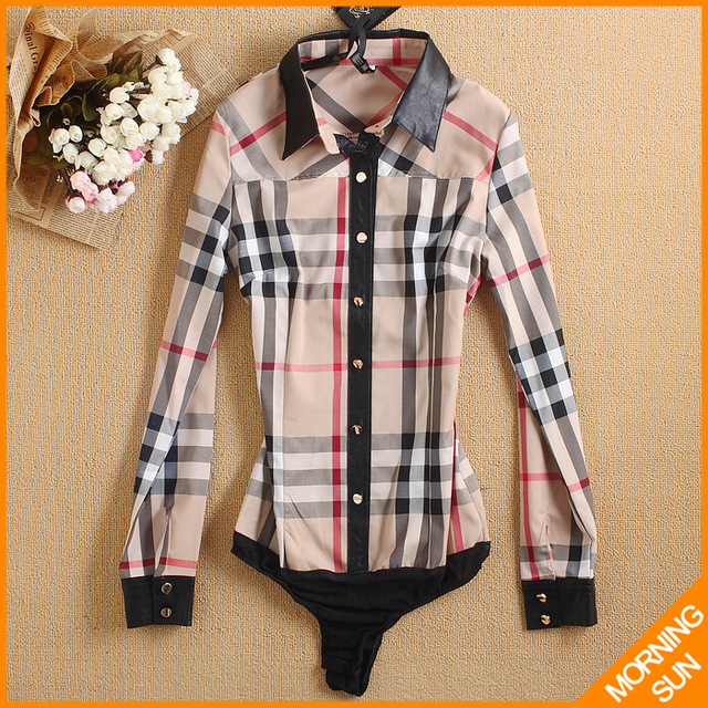 free shipping 2017 fashion plaid Splice black color leather long sleeve sex lace clothing women conjoined casual shirt  #4003