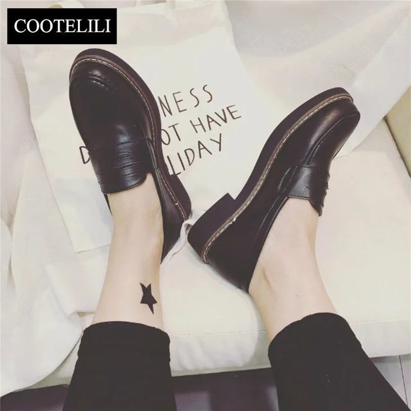 COOTELILI 35-39 Spring Casual Flats Women Shoes Solid Platform Slip-On Round Toe Loafers British Style Oxfords Woman xiaying smile woman flats women brogue shoes loafers spring summer casual slip on round toe rubber new black white women shoes