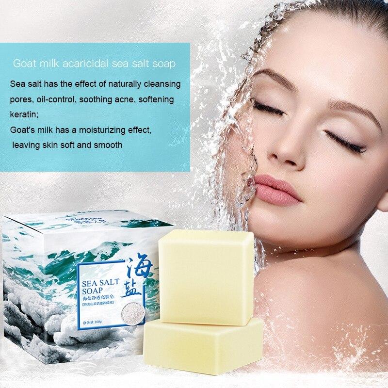 100g Sea Salt Clear Soap Handmade Pimple Pores Acne Treatment Soap Goat Milk Moisturizing Face Wash Skin Care Проектор