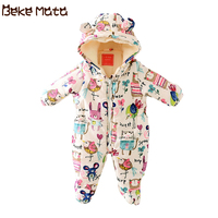 Newborn Baby Girl Clothes Cartoon Baby Boy Rompers Winter 2019 Graffiti Zipper Cotton Baby Snowsuit Thick Warm Toddler Jumpsuits