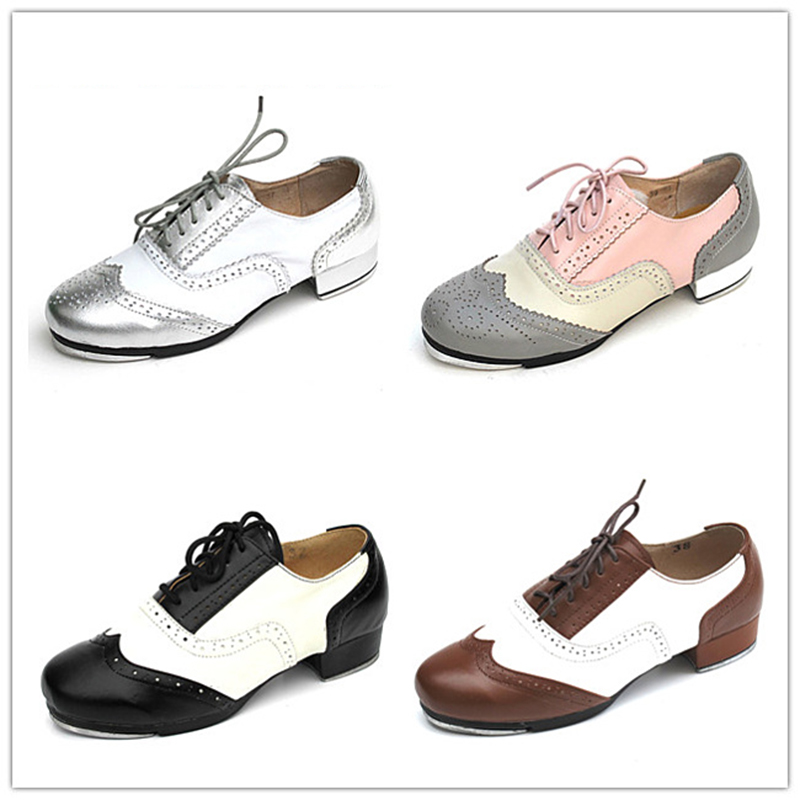 Menn Sko Sneakers Sport Kvinner Ekte Skinn Tap Dans Sko Farge Matching Lace Pustende High Quality Aluminum Gummi Sole