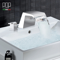POP Brand New Design Contemporary 3 Holes Two Handle Lever Basin Faucet Modern Waterfall Style Bathroom