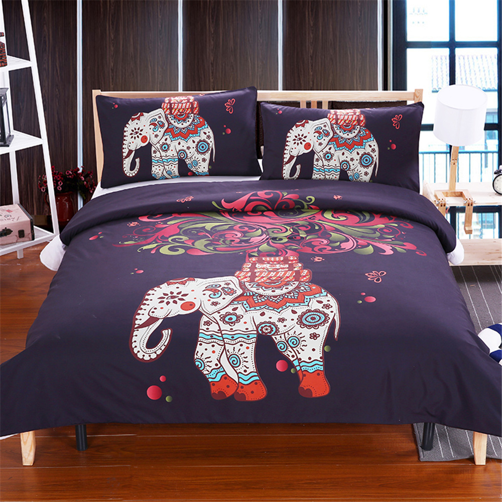 High Quality Luxury Bohemia Mandala Printing Bed Set Queen 12size Bedlinen Bedclothes Bedding Set Datura Elephant Flower Textile Power Source