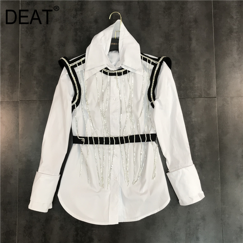 DEAT 2019 new fashion spring women clothing turn down collar full sleeves tassels patchwork fake two