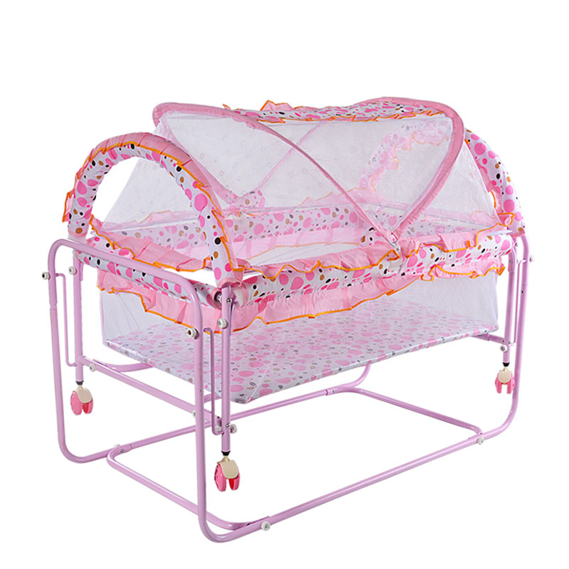 Metal Iron Bed Portable Baby Crib Newborn Rocking Crib Trolley with Netting Detachable Anti-collision Roller Rocker Game Bed