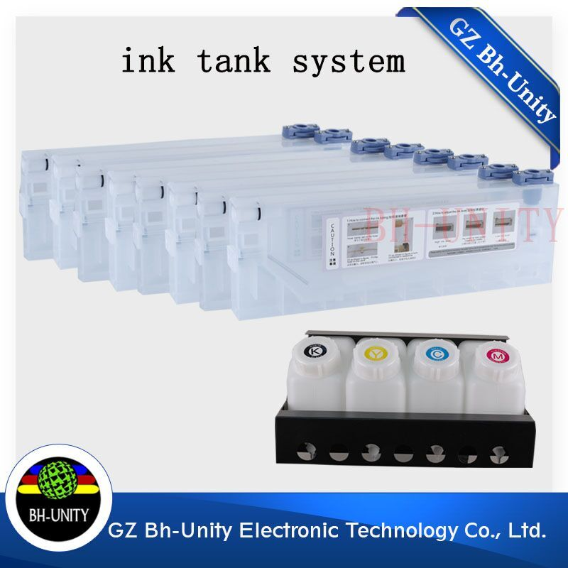 double 4 color bulk continuous ink supply system for mimaki mutoh roland human solvent printer spare part hot sale 1000ml 4 color eco solvent ink in bottle compatible for roland mimaki mutoh printer