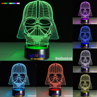 Star Wars Dark Warrior 7 Color 3D LED Night Light All Colors Flash In Turn And