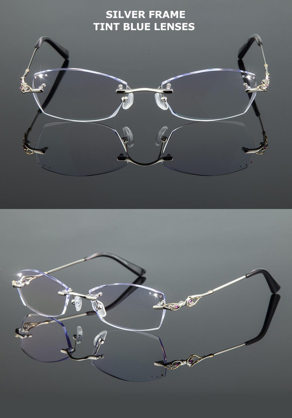 Chashma Titane Mode Femmes Lunettes Diamant Coupé Sans Monture Montures de lunettes  Femmes Monture de lunettes Lentilles De Couleur 1ee6250e58fe