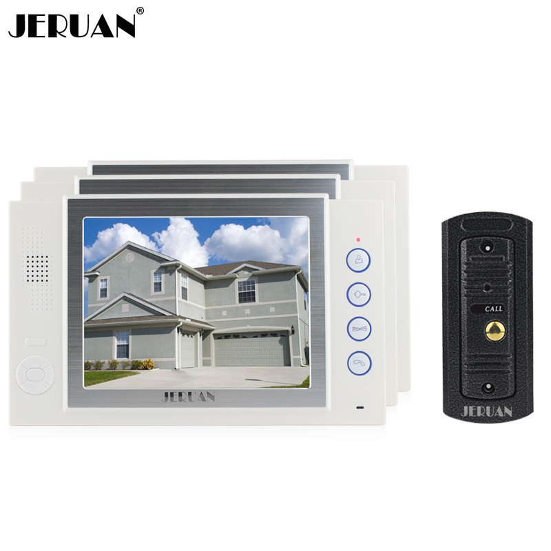 JERUAN 8 inch TFT video door phone intercom system doorbell video recording photo taking metal shell outdoor IR pinhole Camera jeruan home security system 2 outdoor 1 indoor with recording photo taking 8 inch video door phone doorbell intercom system