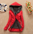 Free Shipping Hot New 2014 Women Winter Hoodies Casual Cotton-padded Warm Coat Wool Winter Jacket Hooded Zipper Fleece WJ2049
