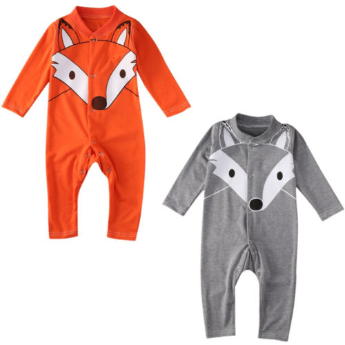 fleece fox hoodie onesie jumpsuit for baby boys girls