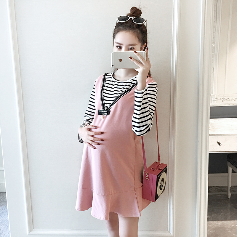 2017 Loose Spring Dress Fashion Mother Clothing Pretend Two Piece Sets Pregnant Women Dress Maternity Stripe Long Sleeve Clothes