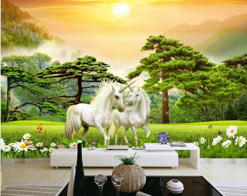 Custom mural 3d wallpaper unicorn forest grassland decor for Custom mural painting