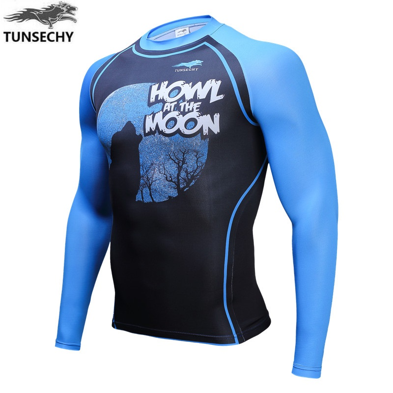 Wholesale and retail Fashion Brand TUNSECHY original Muscle Men Compression Tight T-shirt Long Sleeves movement Fitness T-shirt
