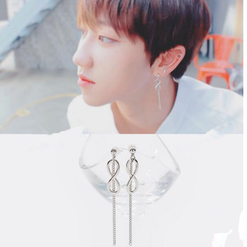 1pcs KPOP Bangtan Boys Album BTS JIMIN 8 words Stud Earrings Korean Fashion Jewelry Accessories For Mens And Womens Earring