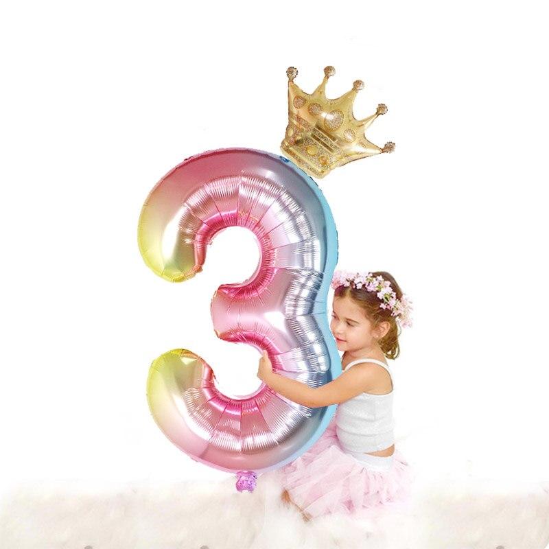 2019 Nova Mudança de Cor Folha Número Balões Com Coroa Da Princesa Festa de Aniversário Meninas Decoração Globo Crianças Suprimentos Bola
