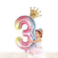 2019 New Color Change Foil Number Balloons With Crown Princess Party Birthday Girls  Decoration  Globo Kids Ball Supplies