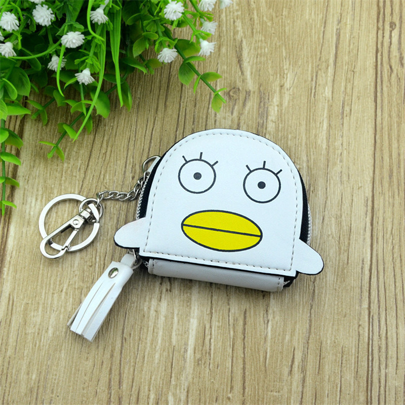 Boys Girls Cartoon Anime Gintama Sakata Gintoki Elizabeth Designer Coin Purse PU Bag With Key Chain