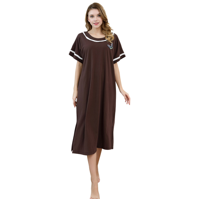 dfd3536b9d Loose Cotton Soft Nightdress Women Solid Color Nightgown Short Sleeve  Sleepwear Lady Cute Home Dressing Gown Intimate Lingerie