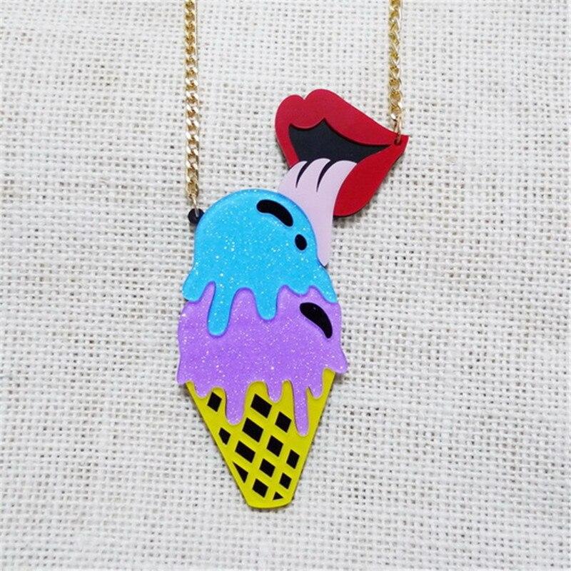 Cute Full Shiny Handmade Women Chain Necklaces Um Colar Acrylic Ornament Icecream Shaped Pendant Feminino Statement Necklace