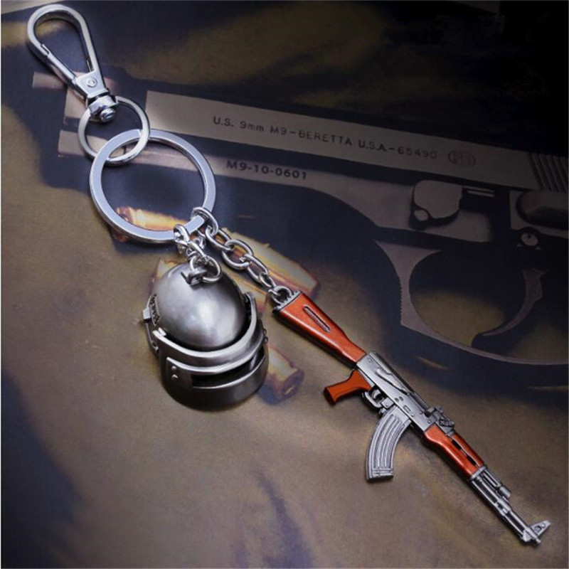Game Pubg Signal Gun Keychain Playerunknowns Battlegrounds Weapons Alloy Cosplay Props Alloy Armor Model Key Costumes & Accessories Costume Props