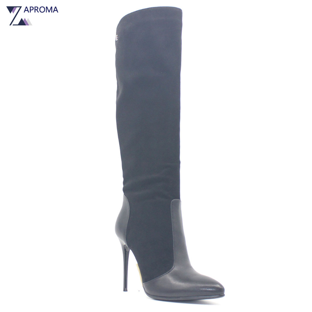 Pointed Toe Fetish Super High Heel Women Boots Sexy Thin Heel Winter Black Suede Over the Knee Shoe Metal Decoration Fleeces PU sexy black suede pointed toe slim fit long boots classy women unique design metal branch thin high heel over the knee boots