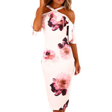 #4 DROPSHIP 2018 NEW HOT Fashion Sexy Women Printing Cross Off Shoulder Dress Evening Party Dress Sundress Freeship