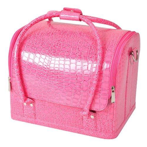 TEXU Popamazing Beauty professional Makeup Cosmetic Box Case Nail Polish Storage Make up Box (Croc Pink)
