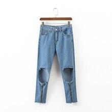 2017 летние брюки случайных молния украшения высокая талия джинсы отверстие джинсовые брюки женские брюки женская одежда