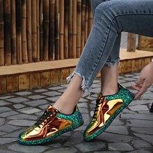 Мода 2019 г. блеск женская повседневная обувь туфли без каблуков блестят суперзвезда Спортивная блеск Роскошные Дизайнерская обувь для женщин кроссовки красочные