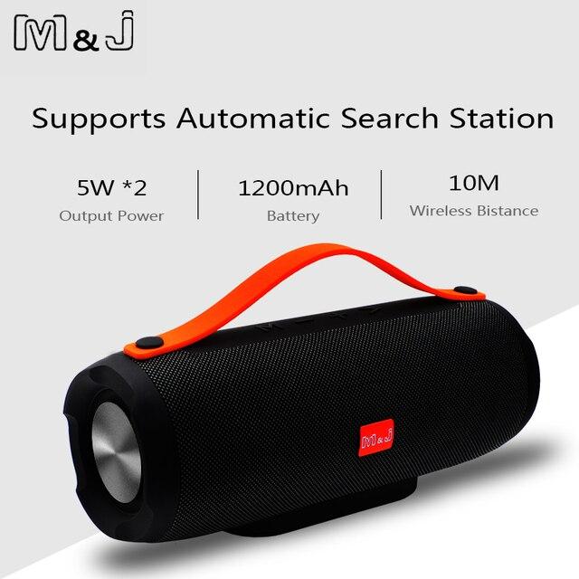 M & J 10 W sistema Portátil sem fio Bluetooth Speaker Stereo grande potência TF leitor de Música Rádio FM Coluna Subwoofer Alto-falantes para Computador
